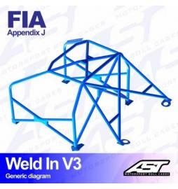 Audi S1 Quattro Barras antivuelco 6 puntos FIA AST Rollcages Motorsport type WELD IN 8 points variante V3