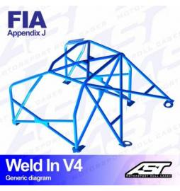 Audi S1 Quattro Barras antivuelco 6 puntos FIA AST Rollcages Motorsport type WELD IN 8 points variante V4
