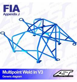 Audi A1 8X Barras antivuelco Motorsport FIA Multipoint WELD IN 10 points AST Rollcages variante V3