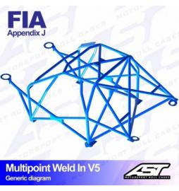 Audi A1 8X Barras antivuelco Motorsport FIA Multipoint WELD IN 10 points AST Rollcages variante V5