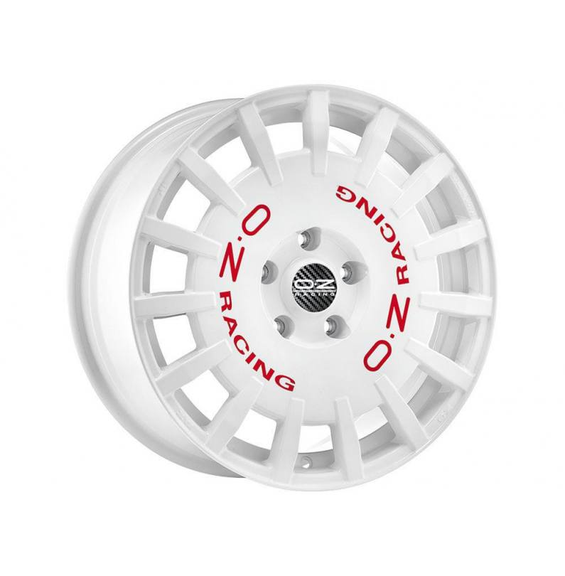 Llanta OZ Racing Modelo RALLY RACING - Medida: 8½x19 - Anclaje: 5x108 - ET 45 - Acabado: RACE WHITE RED LETTERING